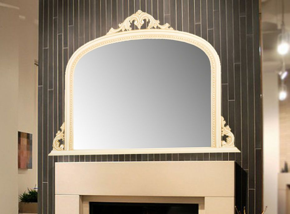 White Arched Top Decorative Ornate Mirror Large 50x36